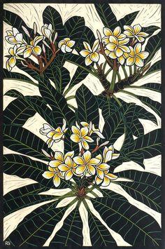 Frangipani x cm Edition of coloured linocut on handmade Japanese paper. Australian Flowers, Australian Art, Birds Of Paradise Flower, Tropical Art, Arte Floral, Wood Engraving, Linocut Prints, Exotic Flowers, Botanical Art