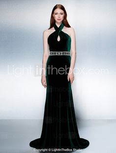 Formal Evening Dress - Dark Green Trumpet/Mermaid Halter Court Train Velvet 2015 – $129.99