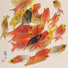 (Korea) Old fishes by Chun Kyung-ja (1924- 2015). Oil on canvas. 천경자.