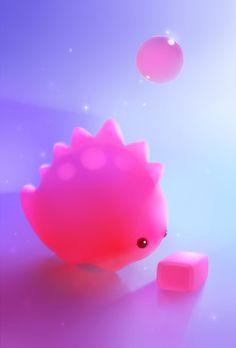Bubble Gum Dino Art Print