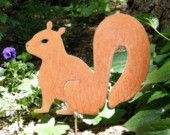 Rusty Finish Metal Garden Art Squirrel Yard Stake