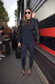 Miranda Kerr sported the chicest navy and black look on her way into Sonia Rykiel.