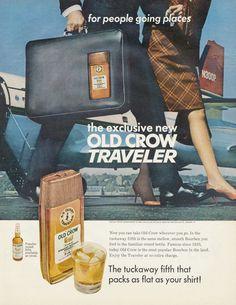 vintage liquor ads | 1967 Old Crow Traveler Whiskey Ad Vintage Liquor Advertisement Print ...