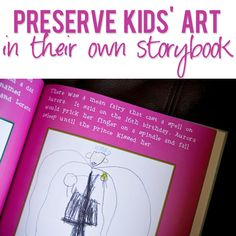Don't you LOVE all the stories your little ones come up with and all the adorable pictures they draw? This is the BEST idea of how to preserve it all! I am