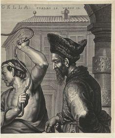 Mattheus Borrekens | Geseling van Christus, Mattheus Borrekens, 1625 - 1670 | In het midden van de prent staat Christus. Hij wordt door twee mannen gegeseld. Een man heeft een roede vast, de ander een zweep met knopen. Twee andere mannen houden Christus in bedwang. Rechts van de prent kijkt Pilatus toe. Op de achtergrond de Farizeeën en schriftgeleerden, die van op afstand de marteling volgen. De prent heeft een Latijns bovenschrift met een citaat uit Psalm 34 (34:15) en een Latijns…
