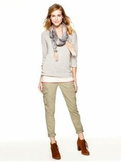 Easy everyday style for Mom's on the go. Slim pants, layered tops and finishing touches like a scarf pull it together.