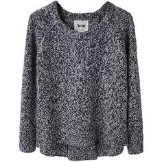 Acne Ruth Marled Pullover (194.475 CLP) ❤ liked on Polyvore featuring tops, sweaters, shirts, jumpers, women, crew neck sweaters, wool shirt, crewneck sweater, blue crew neck sweater and raglan shirts