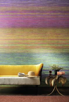 Divali Wallpaper A sophisticated vibrant design featuring multicoloured crayon-like lines that blend from one rainbow colour to the next. This is a vinyl on non woven backing. Order your stand out designer wallpaper at F&P Interiors Teenage Girl Room Decor, Girl Decor, Mulberry Color, Man Cave Wall Decor, Decoration Entree, Wall Decor Design, Scale Design, World Of Interiors, Vinyl Wallpaper