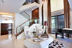 Sophisticated style for Bea Alonzo's Quezon City house White Sofa Set, Bea Alonzo, High Ceiling Living Room, Home Furniture Shopping, Two Storey House, Elegant Kitchens, Celebrity Houses, Formal Living Rooms, My Dream Home