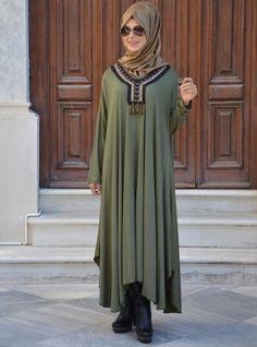 Otantik Elbise - Haki Yeşil - Henna Elısa