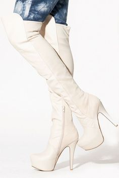 White knee-high boots