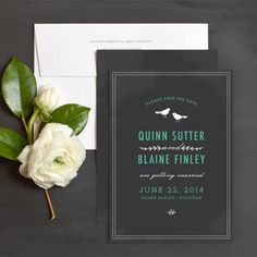 Chalkboard Birds Save The Date Cards by Rachel Marvin Creative | Elli