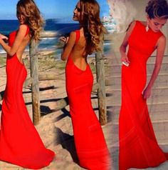 Long Dress Backless Dress Sexy red white black Casual dress Floor-Length