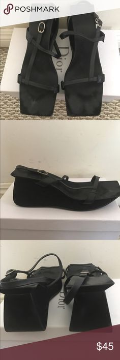 Bebe Sandals Black Leather and Canvas Sandals bebe Shoes Wedges