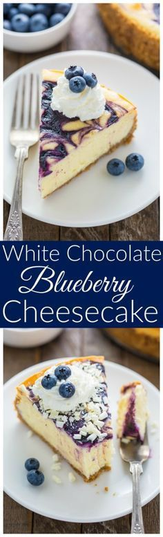 Rich and creamy White Chocolate Blueberry Cheesecake, what more can you ask for in a delicious dessert?!