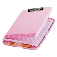 "Officemate Breast Cancer Awareness Clipboard Box, 3/4"" Capacity, 8 1/2 x 11, Pink http://www.getgarveys.com/BMIStore/Clipboards/Breast-Cancer-Awareness-Clipboard-Box/OIC08925.aspx?bcuse=1"
