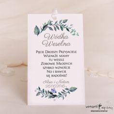 Zielone liście Ślubne zawieszki na wódkę Boho Wedding, Wedding Day, Diana, Place Cards, Wedding Decorations, Wedding Inspiration, Place Card Holders, Weddings, Alcohol