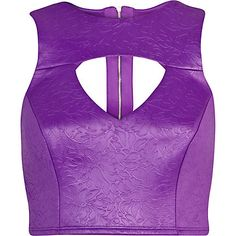 Purple jacquard crop top $24.00
