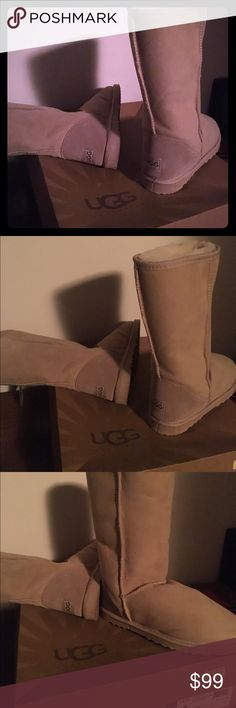 ❤️ New Ugg boots size 8 tan tall fuzzy inside ❤️ New Ugg tall boots size 8 tan beige fuzzy inside. New with tags. Never worn. Not sure on authentic but has ugg box & ugg cleaner bought from Macy's. Retail $200 UGG Shoes
