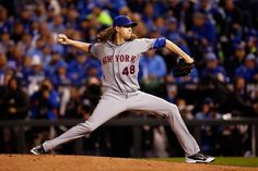 WORLD SERIES GAME 2 - Mets right-hander Jacob deGrom throws a pitch in the fourth inning against the Kansas City Royals during Game 2 of the World Series at Kauffman Stadium on Oct. 28, 2015. (Photo by Christian Petersen/Getty Images)