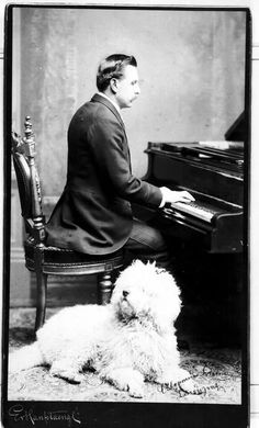 Artist: Ev Hanfstaengl Date/place: unknown Subject: Man with dog by the piano Medium: photographic positive, B&W Notes: none Persistent URL: Original belongs to the Edvard Grieg Archives at Bergen Public Library Original reference: Piano Music, My Music, Reggae Music, Classical Music Composers, Man And Dog, Vintage Dog, Types Of Music, Conductors, Dog Photos