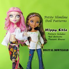 70s Hippy Boho Bellbottoms and Peasant Shirt Doll Clothes Pattern for Petite Slimline Dolls: Monster High, Ever After High, Dal & Similar 70s Hippie, Hippie Chic, Doll Clothes Patterns, Clothing Patterns, Doll Patterns, Dress Patterns, Bell Bottom Pants, Bell Bottoms, Monster High Doll Clothes