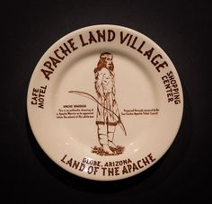 """Apache Land Village Café, Motel and Shopping Center, Globe, Arizona. Made by Wallace China in 1954 & 1955. 5.5"""" Plate. Offered by Track 16. http://www.track16.com #restaurantware #restaurantchina"""