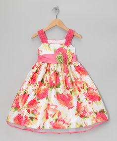 Take a look at this Jayne Copeland Pink Floral Bow Dress - Infant & Girls on zulily today!