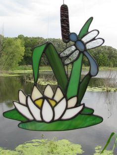 Dragonfly & Water Lily Suncatcher by StainedGlassByBev on Etsy
