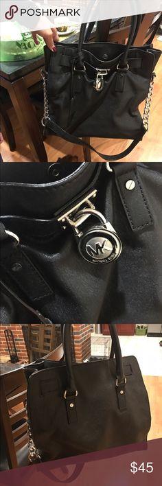 Michael Kors black leather bag Michael Kors black leather bag silver hardware/used but in very good condition KORS Michael Kors Bags Satchels