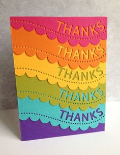 The Thanks Scallop Border die from Simon Says is punched and used with different lengths of brightly colored paper on this handmade thank you card.