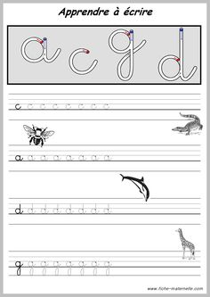 Exercices pour APPRENDRE A ECRIRE. French Cursive, French Handwriting, Handwriting Analysis, Handwriting Worksheets, Preschool Learning Activities, Preschool Kindergarten, Alphabet Cursif, Montessori, French Lessons