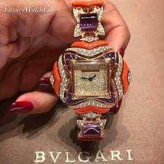 A bejeweled and enameled @bulgariofficial watch that had @the_diamonds_girl falling in love! Available from #Bulgari in Bal Harbour. #watchoftheday #watchesofinstagram #watches #luxury #luxurywatchlist #thebest #top #wow #watch #luxurywatch #beautiful