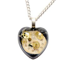 30 x Dr Who Inspired Steampunk 'Cracks in Time' Heart Necklace. Hand Made in Cornwall, UK by thelongwayround on Etsy Dr Who, Cornwall, Pocket Watch, Steampunk, Geek Stuff, Pendant Necklace, Jewellery, Inspired, Heart
