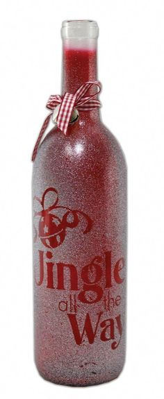 Crafts Direct Project Ideas: Jingle All The Way Glass Bottle crafty pics, Lisa Mussmann, crafty pics Crafts Direct-Projektideen: Jingle All . Wine Bottle Glasses, Wine Bottle Corks, Glass Bottle Crafts, Diy Bottle, Glass Bottles, Wine Glass, Blue Bottle, Crafts With Wine Bottles, Diy Glasses