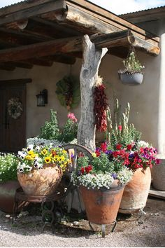 Pergola Connected To House Garden Yard Ideas, Garden Projects, Outdoor Restaurant Patio, Mexican Patio, Patio Plants, Garden Inspiration, Backyard Landscaping, Beautiful Gardens, Container Gardening