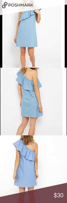🎉SALE🎉 NWT Soft Blue One shoulder ruffle dress Tags attached. Comfy. Cute and stylish. For work or play Dresses