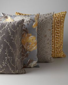 Gray & Gold Pillow Group at Horchow. Timeless Pillows appreciates these beautiful pillows!