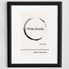 Ernest Hemingway quote poster | every writer might need this.