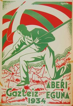 A Basque in Boise Bilbao, Political Posters, Biarritz, Basque Country, Vintage Travel Posters, Retro Posters, U.s. States, Country Art, France