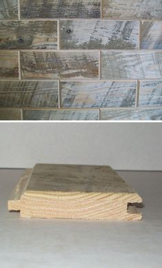 """These """"tiles"""" are real wood-- distressed hemlock, to be exact. The pieces fit together tongue-and-groove style, to create a gorgeous wood plank wall in your home. (Reclaimed barn wood """"tiles"""" also available!)"""