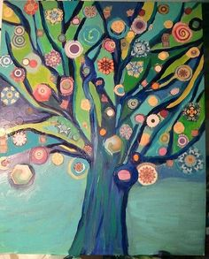 Mixed media tree by Elizabeth Williams