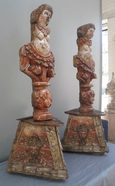 South America  17th-18th c.  Pair of caryatid estipite columns, sometimes used as ship carving ornaments on Spanish galleons.