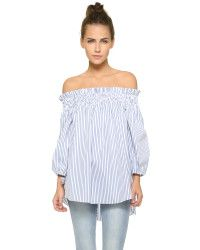 Caroline Constas Lou Off the Shoulder Blouse - ShopStyle Longsleeve Tops Off Shoulder Tops, Off Shoulder Blouse, Cold Shoulder, Rebecca Minkoff, Bustier Top, Bow Blouse, Up Girl, Blue Tops, Casual Looks