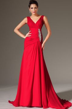 2014 V Neck Pleated Bodice Column Sweep Train Prom Dress With Beads