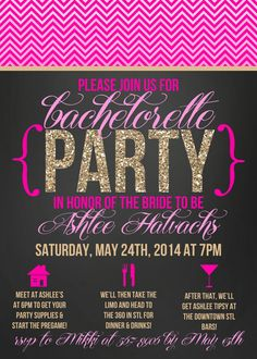 Chevron Glitter Bridal Shower Bachelorette Party by OhSoFabulous