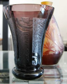 Classic Signed Art Deco Brown/ Dark Purple Acid Etched Vase By French Glass Studio Veramé. Mint Condition.