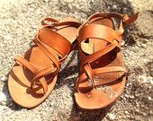 Leather Sandals genuine with straps handmade greek style