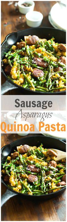Sausage Asparagus Quinoa Pasta