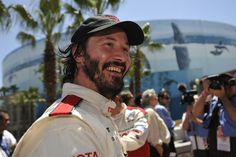 LONG BEACH, CALIF. -- Keanu Reeves after winning the celebrity part of the Pro/Celebrity race on April 18, 2009 during the Toyota Grand Prix of Long Beach.  Photo by Jeff Gritchen/Long Beach Press-Telegram